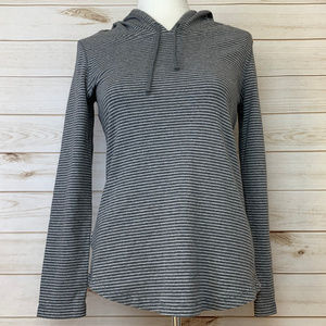 Eddie Bauer gray stripe hoodie petite medium